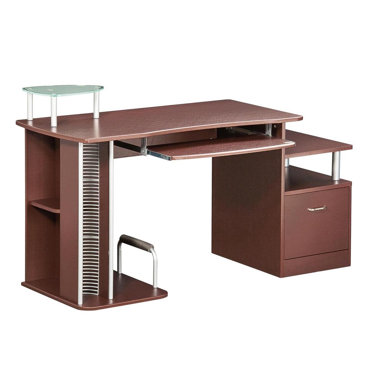 Deluxe Ergonomic Multifunction Computer Desk (Chocolate),...