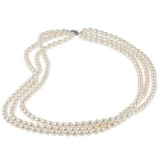 Miadora Rice Cultured Freshwater Pearl 18-inch 3-strand Necklace (4-5 mm)