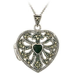Glitzy Rocks Sterling Silver Marcasite/ Onyx Heart Locket Necklace