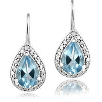 Glitzy Rocks Silver 2 2/5ct TGW Gemstone and Diamond Accent Earrings