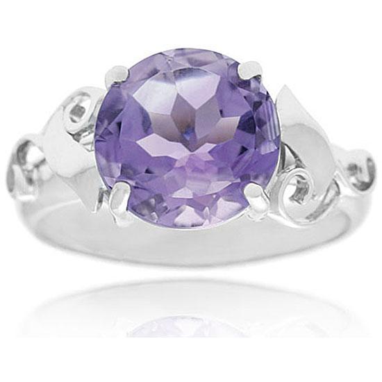 Glitzy Rocks Sterling Silver Genuine Amethyst Ring