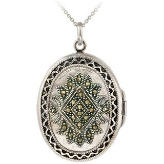 Glitzy Rocks Sterling Silver Marcasite Oval Locket Necklace|https://ak1.ostkcdn.com/images/products/3190664/P11308371.jpg?impolicy=medium