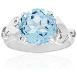 Glitzy Rocks Sterling Silver Genuine Blue Topaz Ring