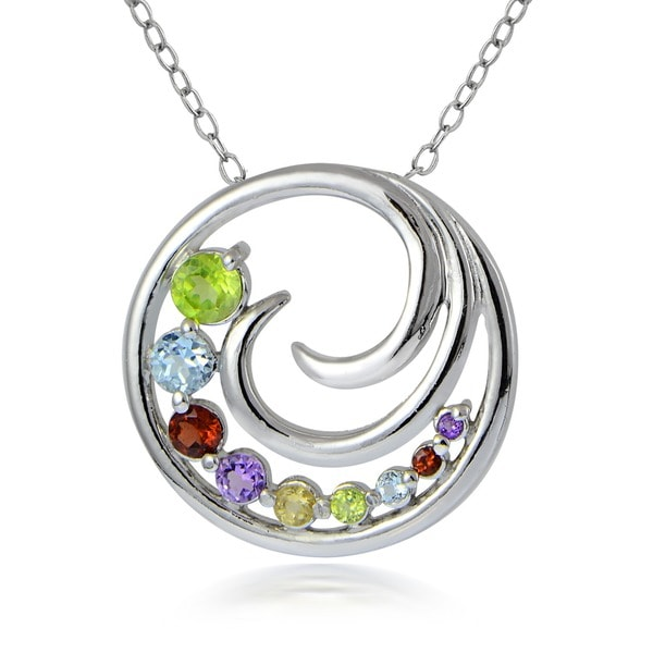 Glitzy Rocks Sterling Silver Multi-gemstone Journey Necklace
