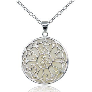 Glitzy Rocks Sterling Silver Mother of Pearl Medallion Necklace
