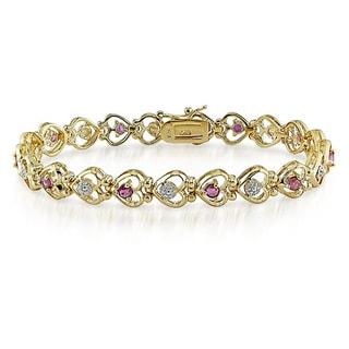 Catherine Catherine Malandrino Goldplated Ruby and Diamond Accent Bracelet