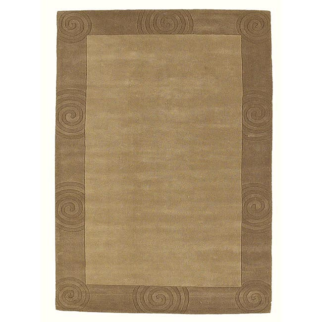 Hand-tufted Beige Carving Wool Rug (5' x 8') - 5' x 8'