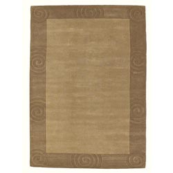 Hand-tufted Beige Carving Wool Rug (5' x 8') - Thumbnail 0