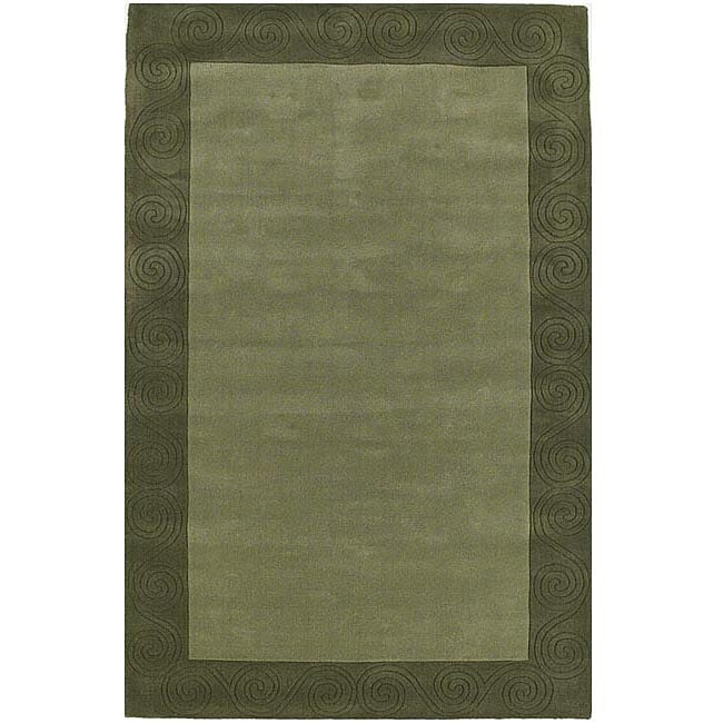 Hand-tufted Green Carving Wool Rug (8' x 10'6)