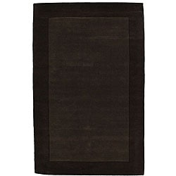 Hand-tufted Coffee Border Wool Rug (8' x 10'6)