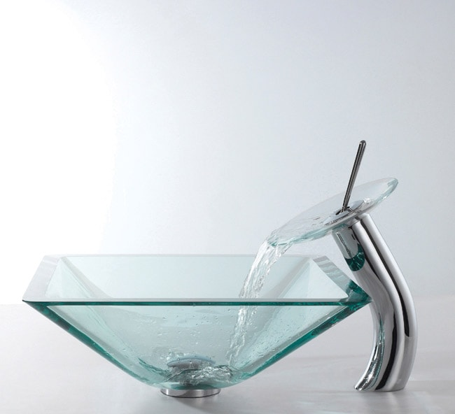 KRAUS Square Glass Vessel Sink in Clear with Waterfall Faucet in Chrome