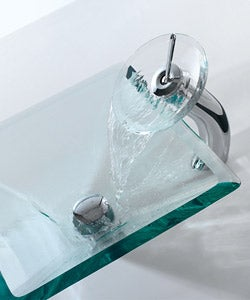 KRAUS Square Glass Vessel Sink in Clear with Waterfall Faucet in Chrome - Thumbnail 1