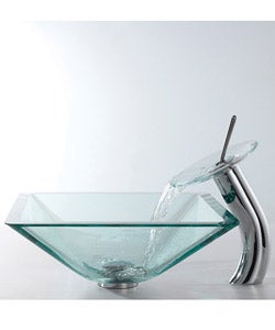 Kraus Square Clear Aquamarine Glass Sink and Waterfall Faucet