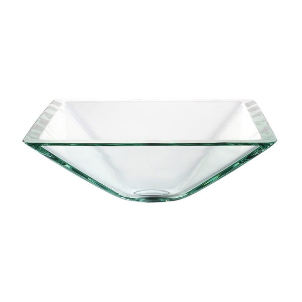 KRAUS Square Glass Vessel Sink in Clear with Pop Up Drain and Mounting Ring. KRAUS Square Glass Vessel Sink in Clear with Pop Up Drain and
