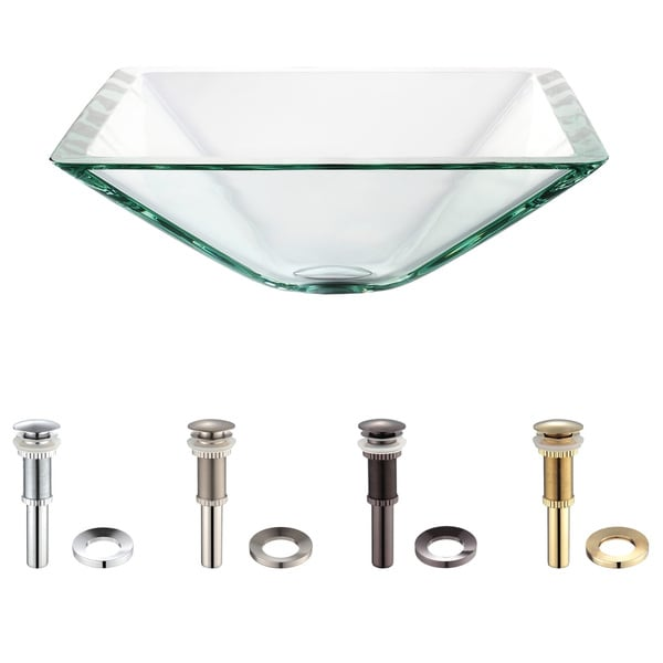 KRAUS Square Glass Vessel Sink in Clear with Pop-Up Drain and Mounting Ring in Satin Nickel