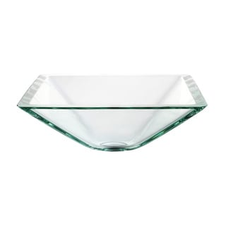 Kraus Square Clear Aquamarine Glass Vessel Sink