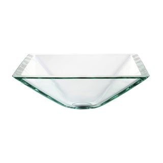 KRAUS Square Glass Vessel Sink in Clear with Pop-Up Drain and Mounting Ring
