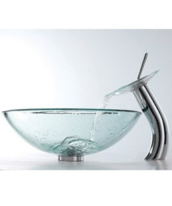 KRAUS Glass Vessel Sink with Waterfall Faucet in Chrome