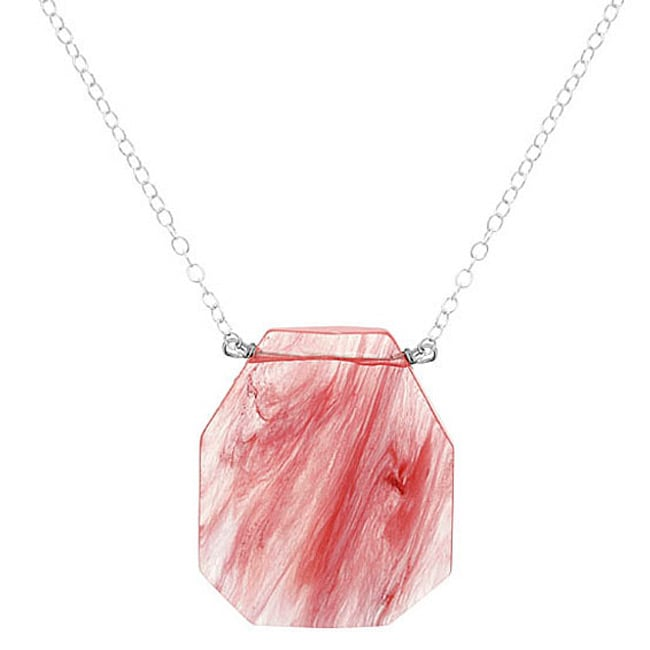 Glitzy Rocks Sterling Silver Faceted Cherry Quartz Glass Necklace