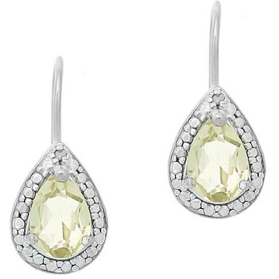Glitzy Rocks Sterling Silver Lime Quartz Teardrop Earrings