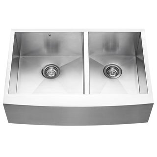 VIGO 33-inch Farmhouse Stainless Steel 16 Gauge Double Bowl Commercial-Grade Kitchen Sink