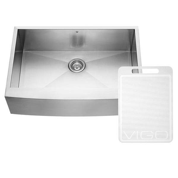 VIGO 33-Inch Farmhouse Stainless-Steel 16-Gauge Single-Bowl Drop-In Kitchen Sink