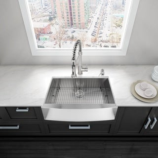 VIGO 30-Inch Farmhouse Scratch-Resistant Stainless-Steel 16-Gauge Single-Bowl Kitchen Sink