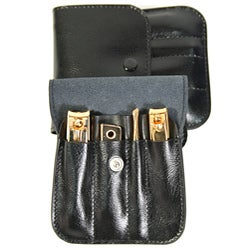 Royce Leather Deluxe Travel-size Manicure Set with Gold-toned Tools - Thumbnail 1