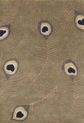 Alliyah Handmade Peacock Green Wool Rug (5' x 8')
