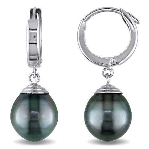 Miadora 14k White Gold Tahitian Pearl Drop Earrings (9.5-10 MM)