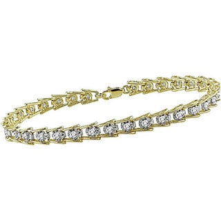 Miadora 10k Gold 1ct TDW Diamond Tennis Bracelet