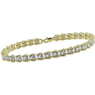 Miadora 10k Gold 1ct TDW Diamond Tennis Bracelet (I-J-I3)