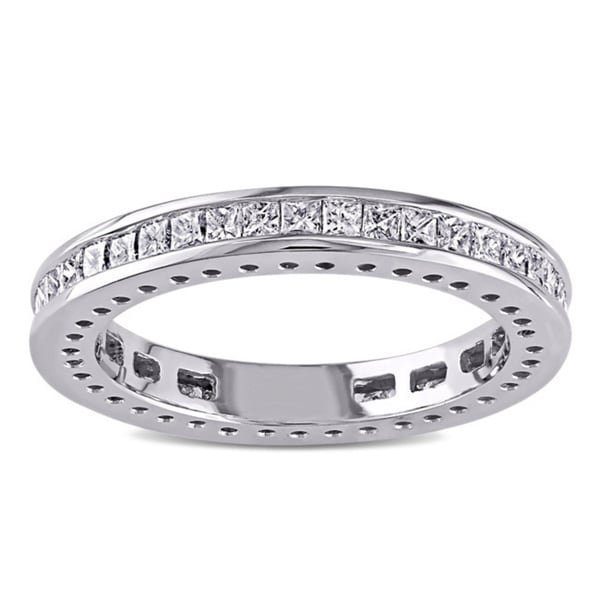 Miadora Signature Collection 14k White Gold 1ct TDW Princess Cut Diamond Band