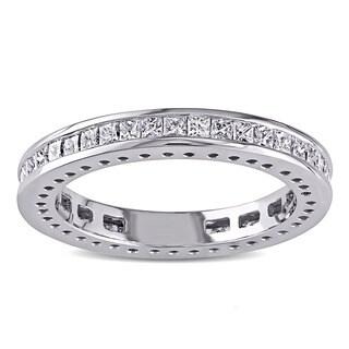 Miadora Signature Collection 14k White Gold 1ct TDW Princess Cut Diamond Band
