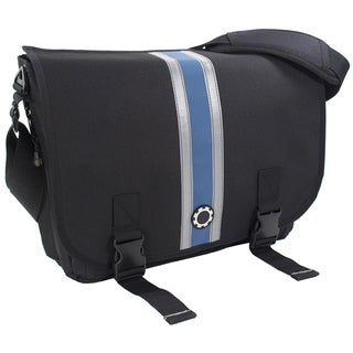 DadGear Messenger Diaper Bag, Center Stripe Blue
