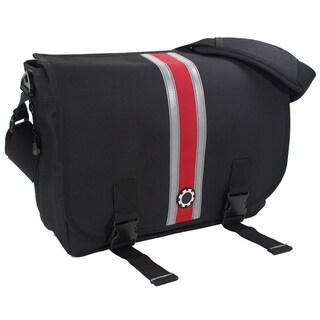DadGear Messenger Diaper Bag, Center Stripe Red