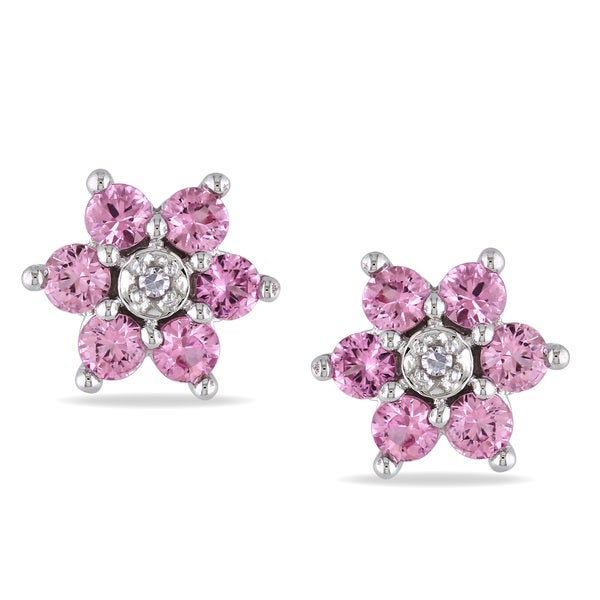 Miadora 10k Gold Pink Sapphire and Diamond Flower Earrings