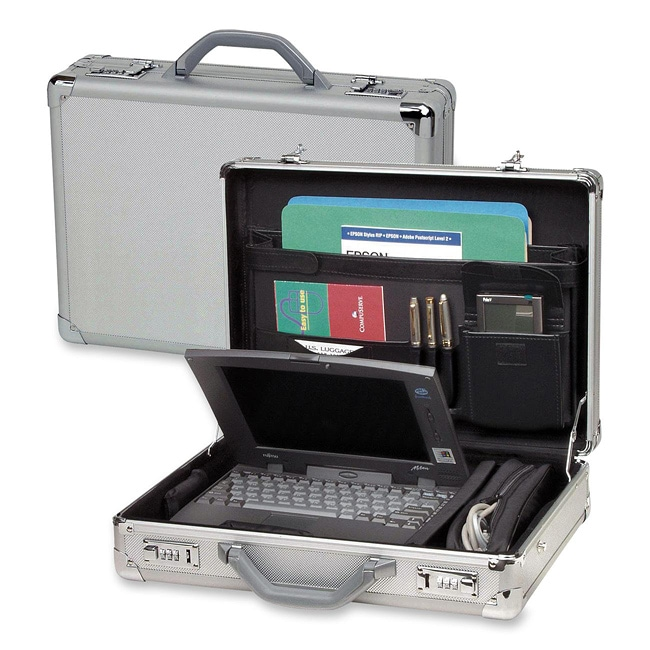 Slim Briefcase Locking Hard Metal Carrying Case Heavy Duty