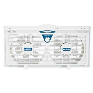 Lasko 2138 8-inch Electrically Reversible Twin Window Fan with Thermostat, 2-Speed