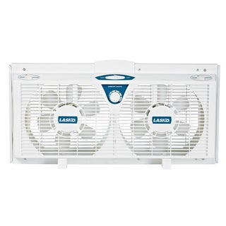 Lasko 2138 8-inch Electrically Reversible Twin Window Fan with Thermostat, 2-Speed