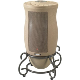 Lasko 6435 Taupe Ceramic Heater with Graphite Grey Curved Metal Scrollwork Base and Remote Control