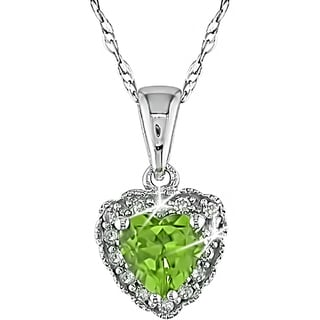 Miadora 10k White Gold Peridot and Diamond Heart Necklace