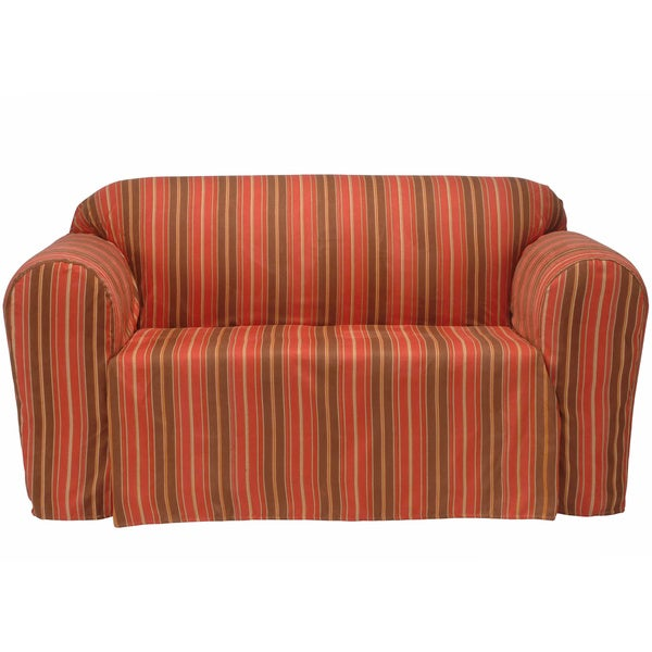 Classic Slipcovers Boulevard Stripe Microsuede Chair Drop Skirt Slipcover
