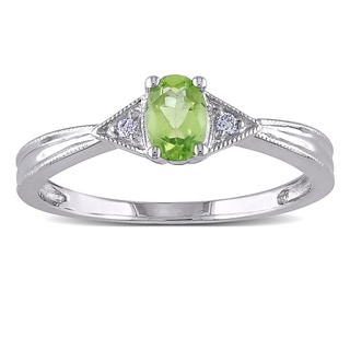 Miadora 10k White Gold Peridot and Diamond Accent Ring