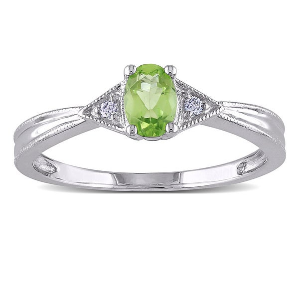 miadora 10k white gold peridot and accent ring