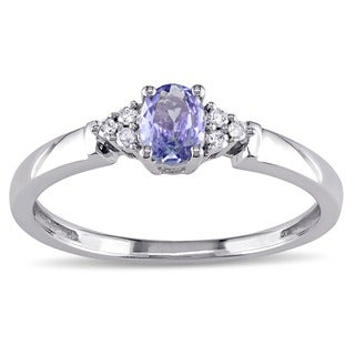 Miadora 10k White Gold Oval-cut Tanzanite and Diamond Accent Ring