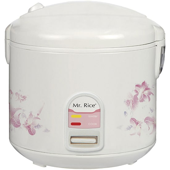 Sunpentown White/ Pink Compact 10-cup Rice Cooker