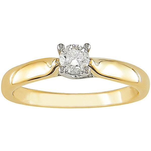 Miadora 14k Gold 1/4ct TDW Diamond Solitaire Ring (H-I, I1-I2)