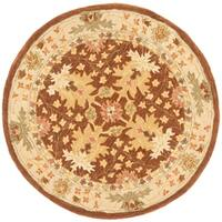 Safavieh Handmade Anatolia Oriental Oushak Brown/ Beige Hand-spun Wool Rug - 4' x 4' Round