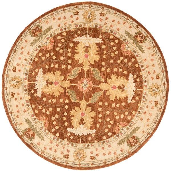 Safavieh Handmade Anatolia Oriental Oushak Brown/ Beige Hand-spun Wool Rug - 6' x 6' Round